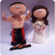 Wrestling wedding cake topper