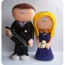 Singer and guitarist wedding cake topper