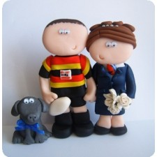 Airhostess and Rugby player wedding cake topper