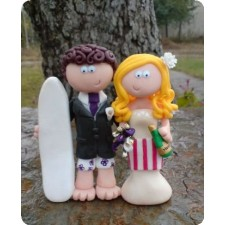 Surfer and cook wedding cake topper