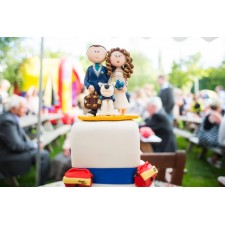 Personalised Bride & Groom wedding cake topper on cake