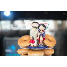 Asian Bride & Groom cake topper on a doughnut cake!