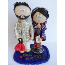 Boxer Groom Pakistani Bride wedding cake topper