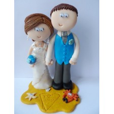 Bride and Groom on a beach cake topper