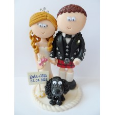 Scottish wedding cake topper with Cocker Spaniel