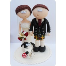 Scottish Bride & Groom cake topper with dog