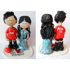 Manchester United Groom wedding cake topper Asian Bride