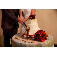 Bride & Groom cutting cake with their toppers
