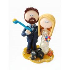 Beach themed Bride & Groom cake topper