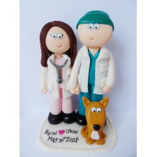 Nurse and Doctor wedding cake topper with dog