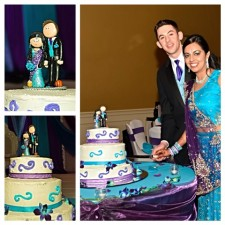 Indian Bride with American basketball Groom wedding cake topper