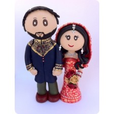 Indian custom made Wedding cake topper painted face