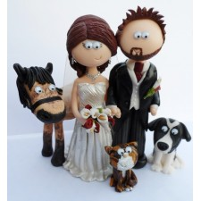 Bride & Groom with horse, dog & cat wedding cake topper