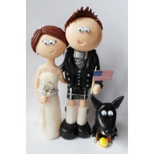 Scottish Bride & American Groom wedding cake topper with dog
