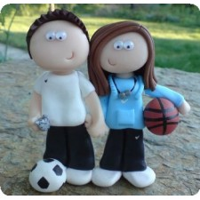 Basketball and football wedding toppers
