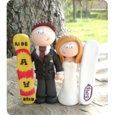 Surfing wedding cake topper