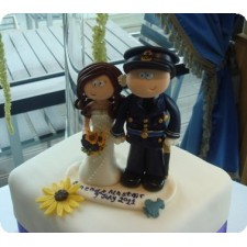 Military Wedding cake topper on cake